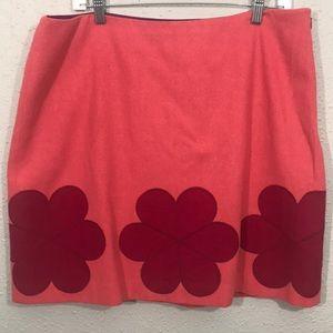 Boden Wool Blend Lined Midi Skirt w/Flowers